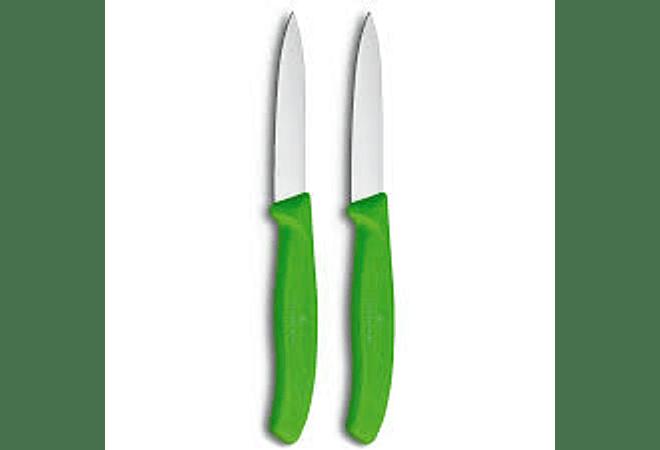 Victorinox, set 2 cuchillo para verdura/Puntiagudo color VERDE