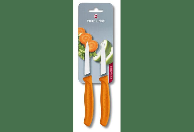 Victorinox SwissClassic, set 2 cuchillos para verdura / Punta centrada NARANJA