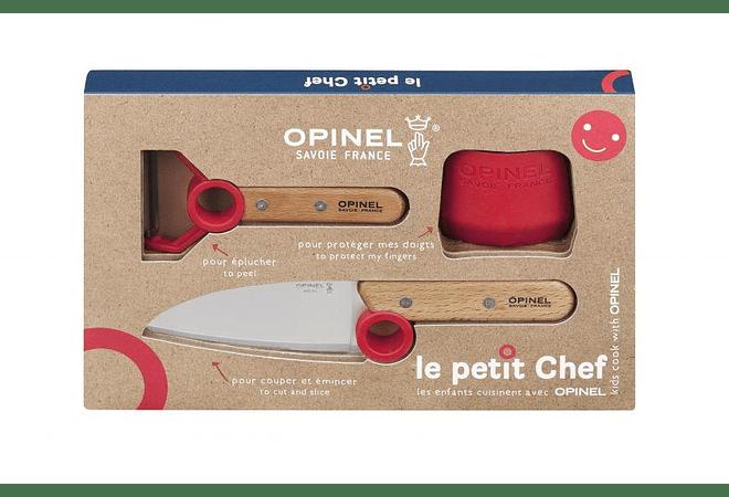 Opinel, Set Le Petit Chef: Cuchillo chef, Pelador y Protector de dedos