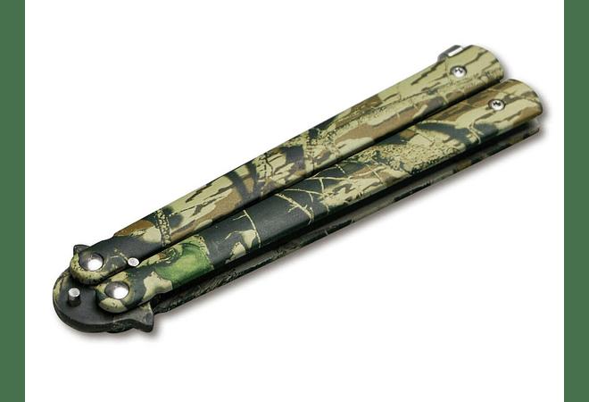 Boker Magnum Balisong Camo largo de hoja 10,5cm