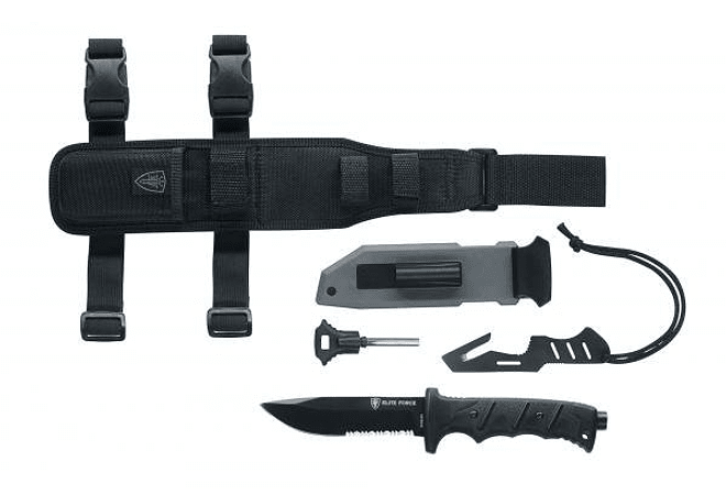 ELITE FORCE, Cuchillo Camping hoja parcial dentada, ACERO INOXIDABLE, 124mm / F 703 KIT