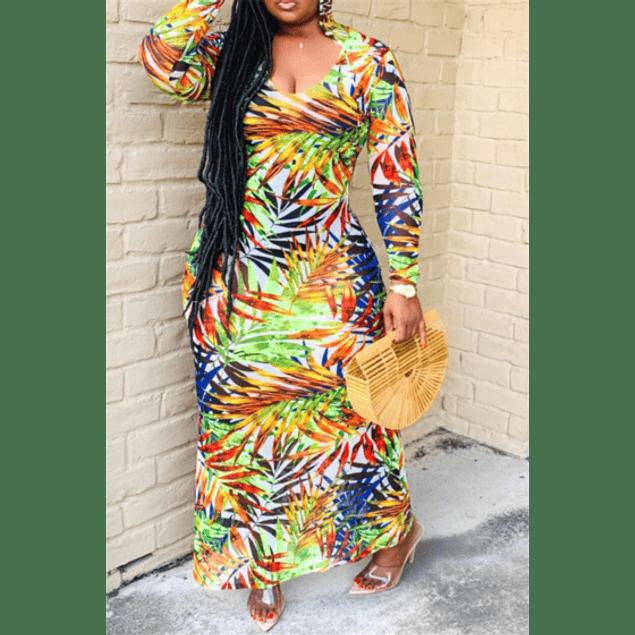 Palms Print Low-cut Hooded Stretch Maxi Dress