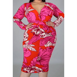Autumn Leaves Print Stretch V-neck Dress