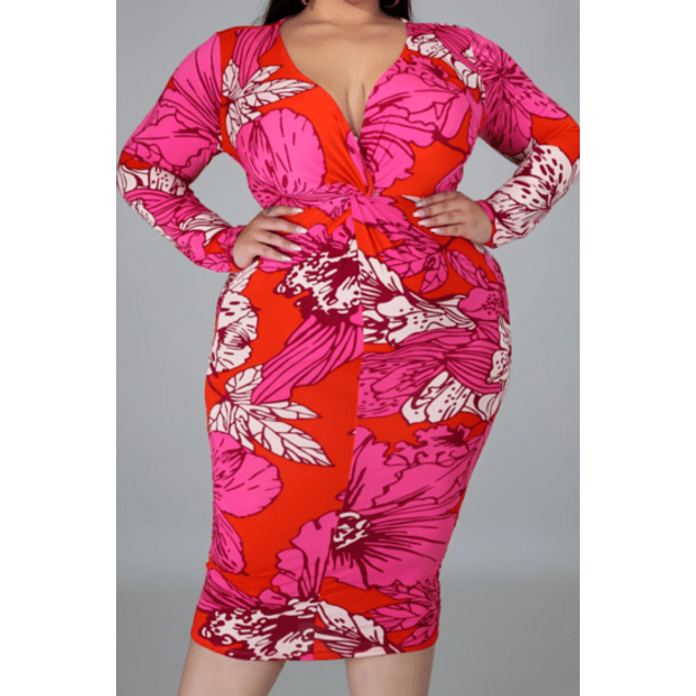 Autumn Leaves Print Stretch V-neck Dress