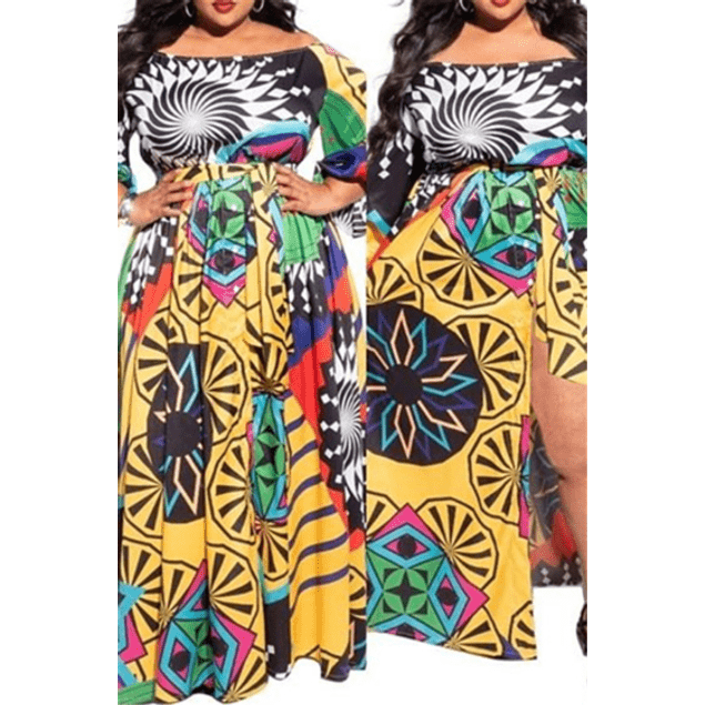 Multicolor Boat Neck Maxi Dress (With belt)