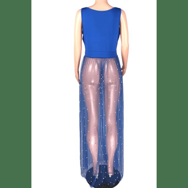 Spliced Mesh Beaded Dress