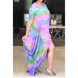Tie-dye Stretch High Front Loose Dress