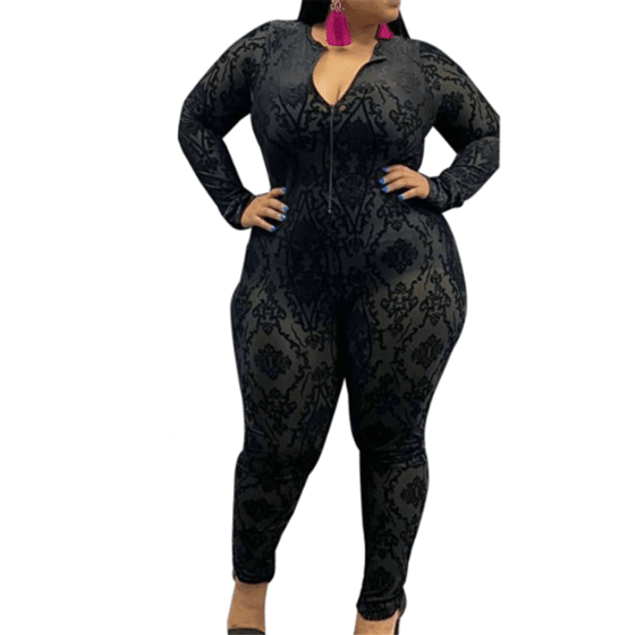 C-Thru Zip-up Stretch fit Jumpsuit (no lining)