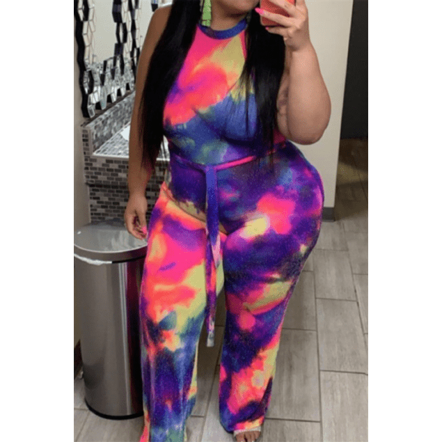 Tie-dye Wide Leg Jumpsuit (with belt)