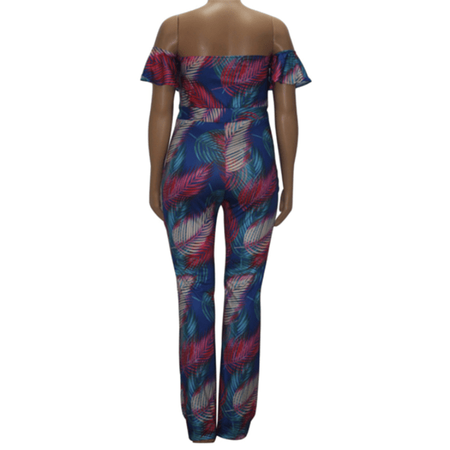 Palm Print Stretch JumpSuit