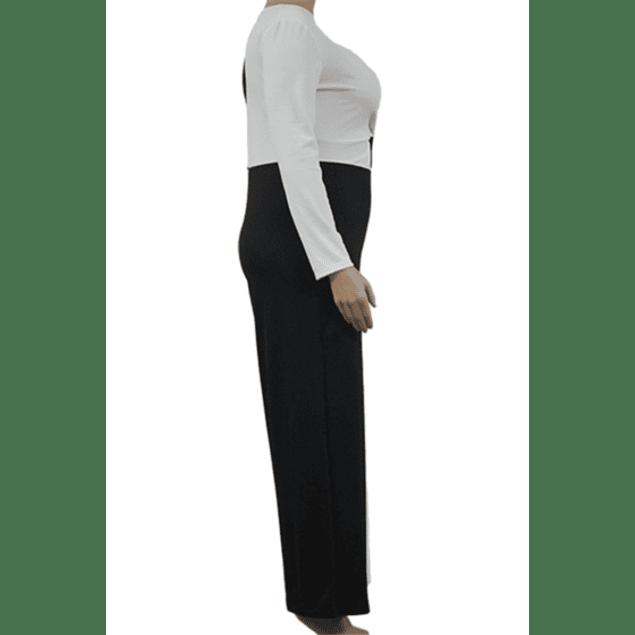 V-Neck Black & White Jumpsuit