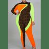 Color Contrast Stretch Fit Jumpsuit