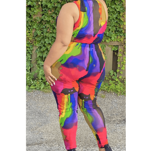Multicolor Stretch Sleeveless Two-piece Set