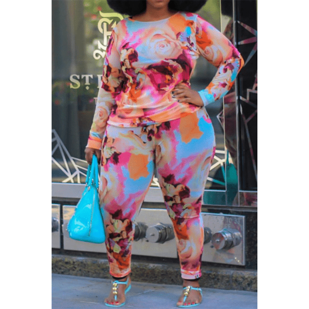 Multicolored Roses Stretch Two-Piece Set