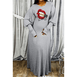 Lip Print Stylish Dress
