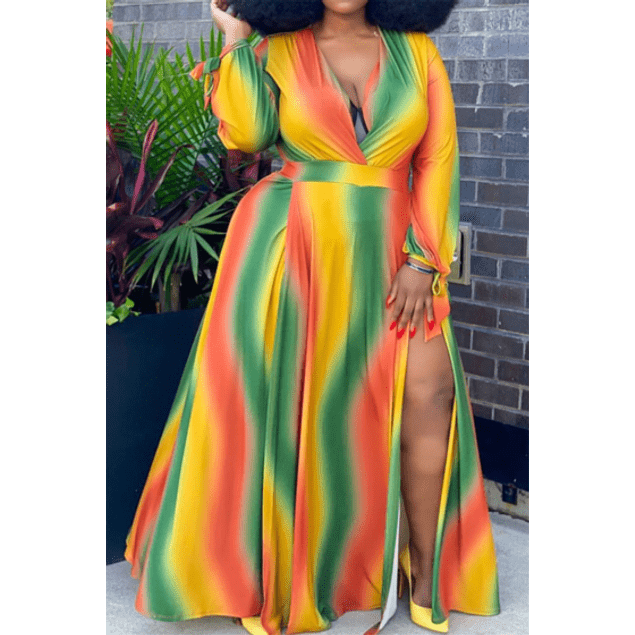 Multicolor V-neck Dress w/Split