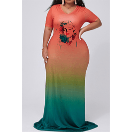 Stylish Contrast Color Loose Dress
