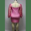 Mesh Spliced Square-line Stylish Dress