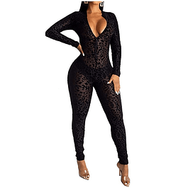 See Through Bodycon Leopard Jumpsuit