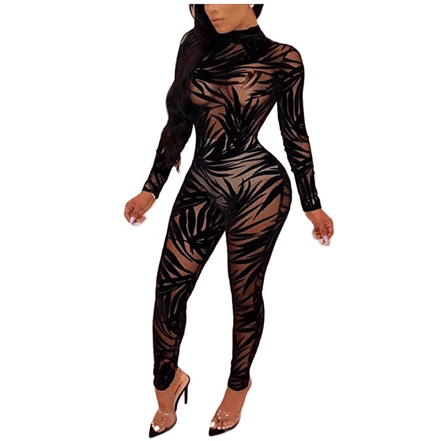 See Through Palm Leaves Sexy Jumpsuit