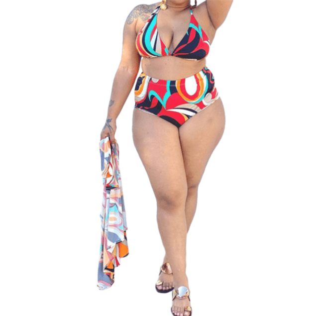 Sexy Multicolor Bathing Suit w/Cover-up