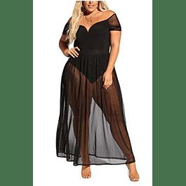 Women's Plus Size Lace Off Shoulder Sweetheart Bodysuit Sheer Long Dress