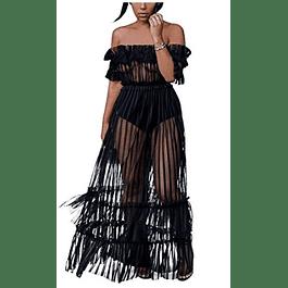 Women's Sexy Lace Off Shoulder High Waist Flared Mesh Maxi Dress