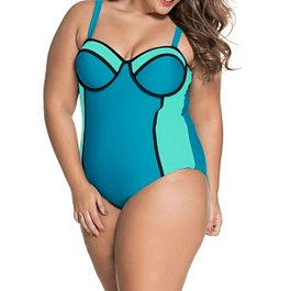 Spagetti Strap Contrast Plus Size Bathing Suit