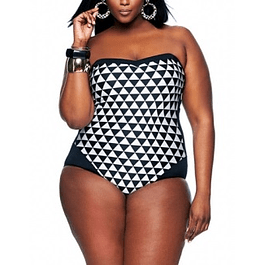 Black & White Checkered One Piece Bathing Suit
