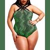 Lattice Detailed Green Snake Skin One Piece Bathing Suit