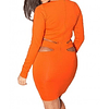 Sexy Long Sleeve Cut Out Body Con Dress