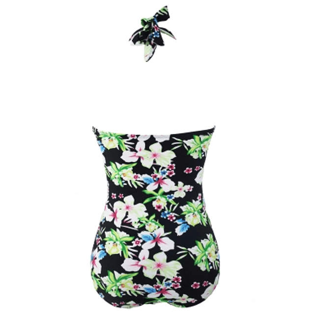 Black Floral Halter One Piece Bathing Suit
