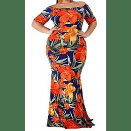 Off Shoulder Ruffle Floral Print Plus Size Party Dress