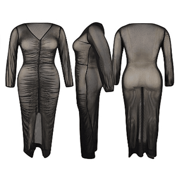 Sexy See Through Front Slit Ruched Bodycon Long Dress /Cover Up