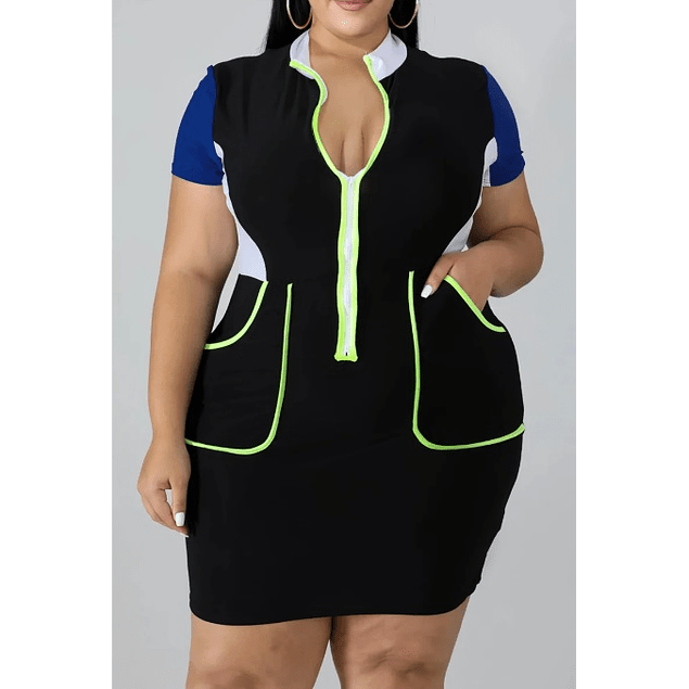 Stylish Contrast Zip-up Stretch Dress