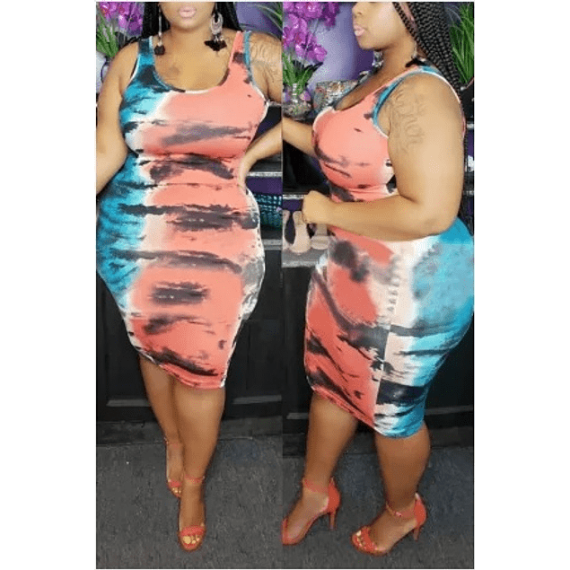 Casual Sexy Print Tye Dye Dress