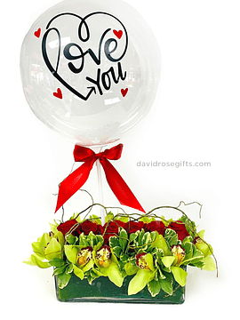 Roses and Orchids w/ personalized balloon