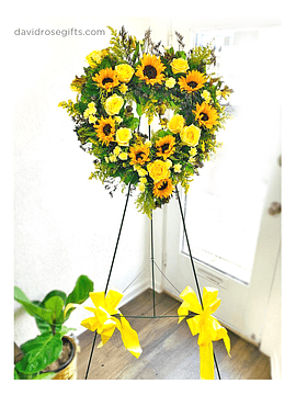 Corazón de Flores Amarillas Brillante