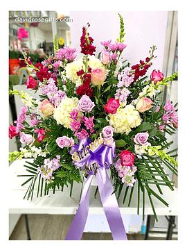 Pastel Sympathy Basket Lavender and Pink Collection