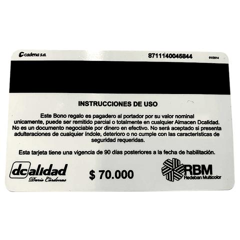 Bono de regalo $70.000