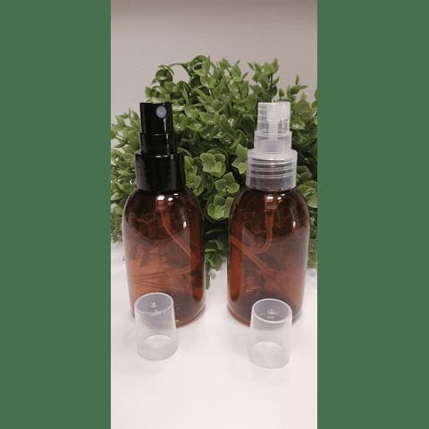 Envase barrilito 60 ml ámbar y transparente tapa spray o crema