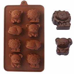 Molde hipopótamo, león, osito
