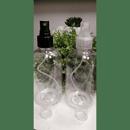 Envase 250 ml transparente tapa spray transparente o negrs