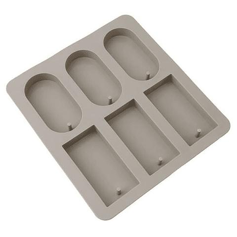 Molde jabón ovalado y cuadrado 6 cavidades