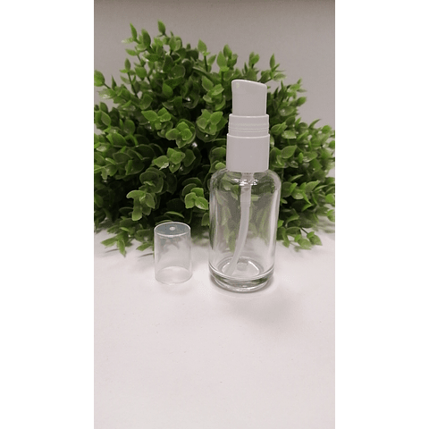 Envase transparente 30 ml  tapa crema blanca