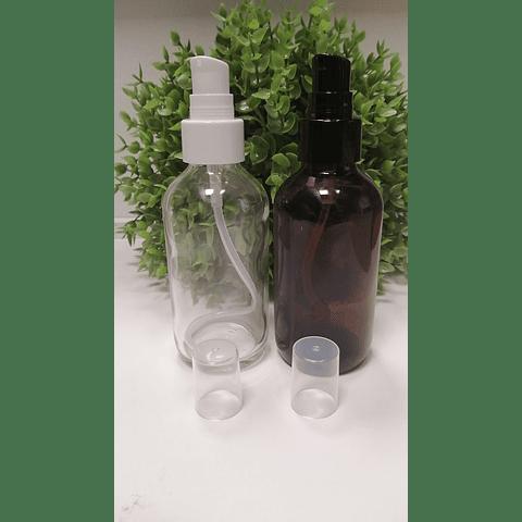 Envase vidrio ámbar y transparente 120 ml tapa crema negra o blanca