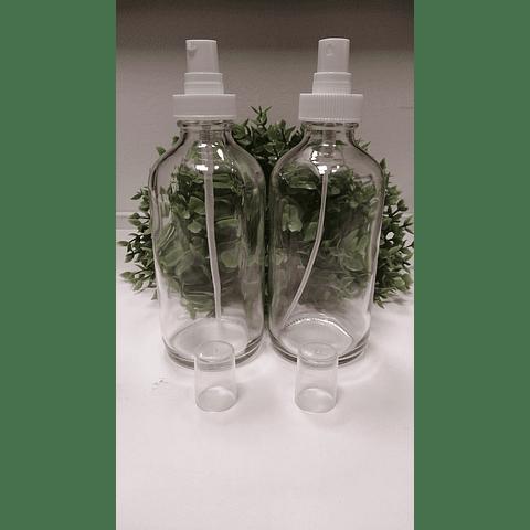 Envase vidrio transparente 240 ml tapa crema o spray blanca