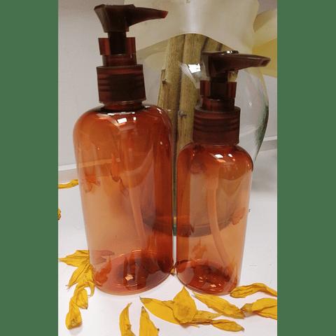 Envase Pet ámbar de 240 y 120 ml tapa lotion