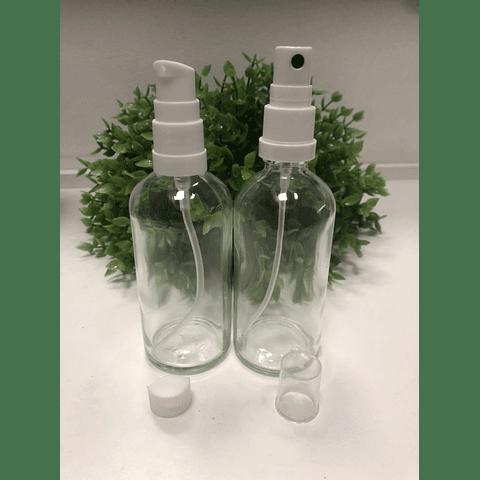 Envase vidrio 100 ml transparente tapa spray y crema