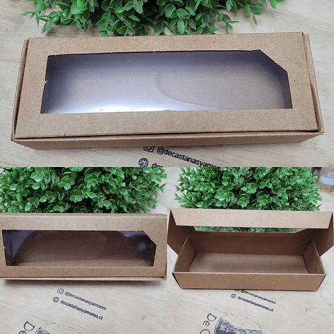 Cajita papel kraft con ventanita transparente 20 largo x 7.3 ancho